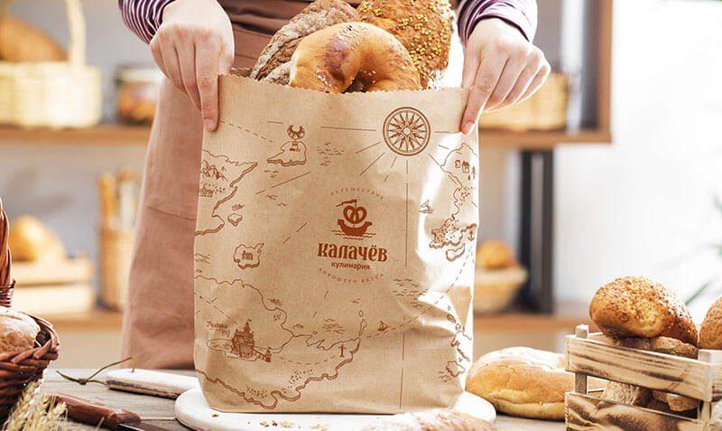 Дизайн логотипа. Дизайн фирменного стиля кафе кулинарии Калачев. Разработка айдентики.