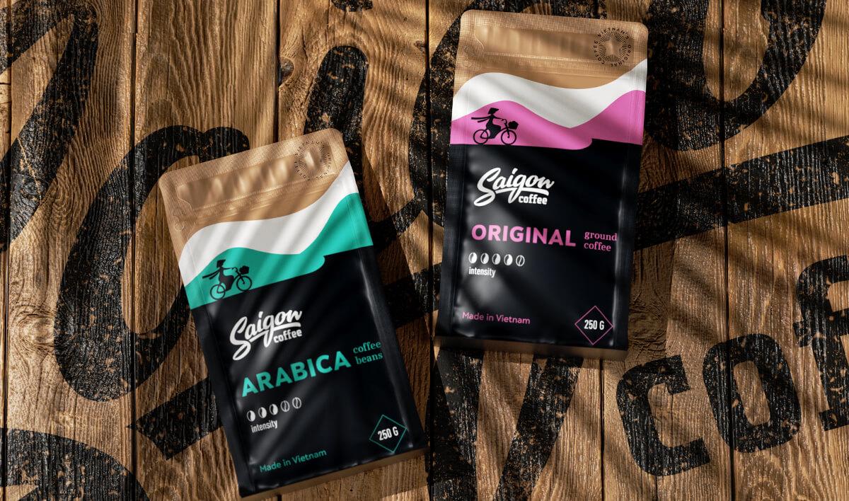 Дизайн упаковки бренда вьетнамского кофе Saigone.