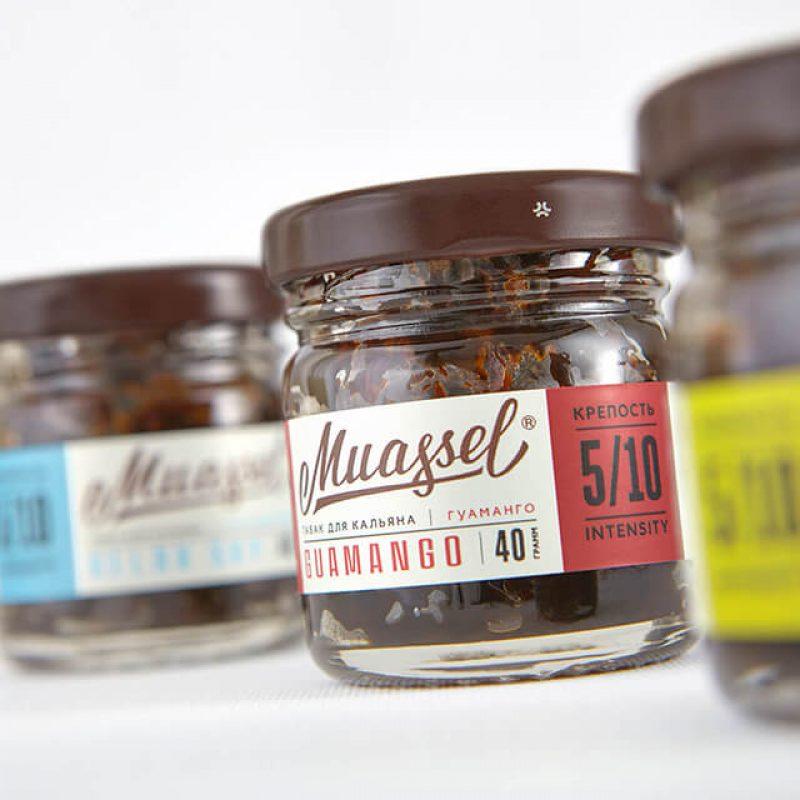 Дизайн этикетки бренда кальянных табаков Muassel.
